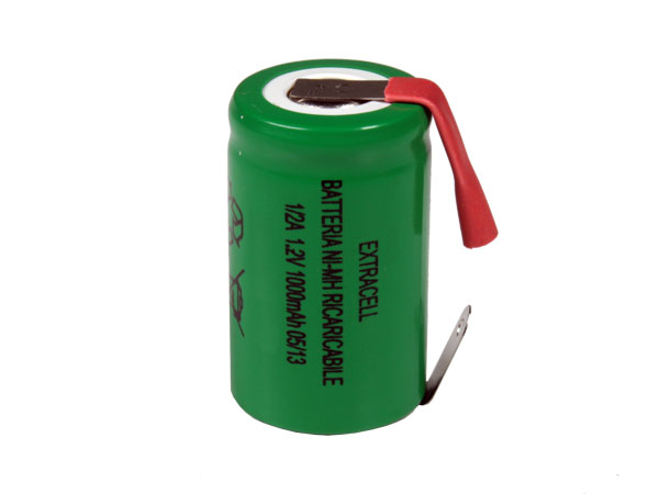 1.2 V - 1000 mAH NiMH 1 / 2a (2 /3 af) battery with terminals