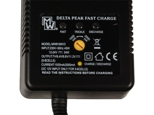 Charger for toy battery packs, NiMH and NiCd - with dual power supply input
