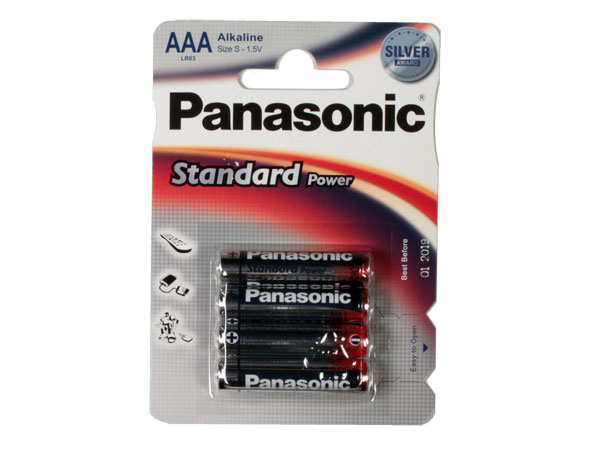 PANASONIC - 1.5 V AAA alkaline battery - 4 unit blister pack