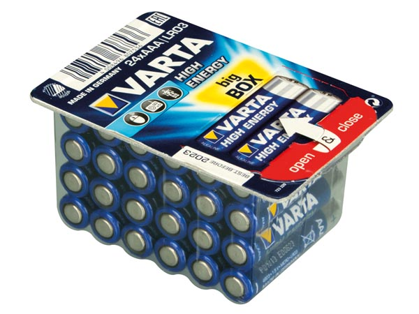 Pilha alcalina 1,5 V AAA - VARTA - blister 24 unidades