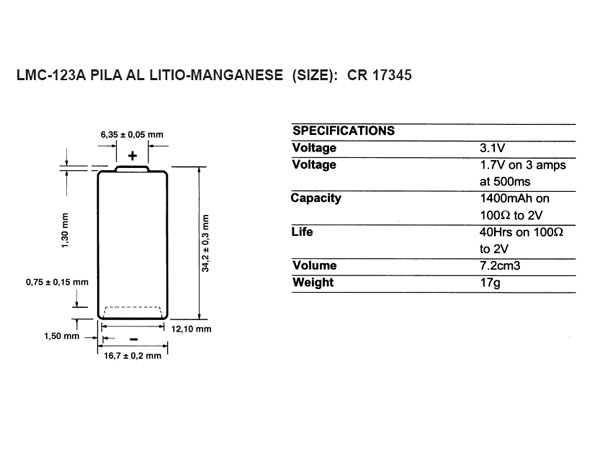 CR123 - PILA LITIO - 3V 1500 mAH - 2/3A - DURACELL