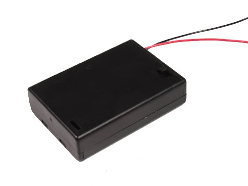 Battery holder for 3 AA batteries with cable and switch