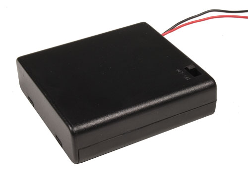 Battery holder for 4 AA batteries with cable and switch