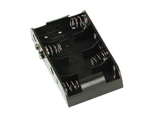 Battery holder for four C batteries with clip