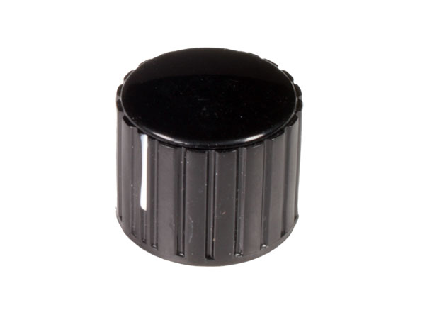 6 mm Black Control Knob with White Line - 20 mm Diameter - KN206BS