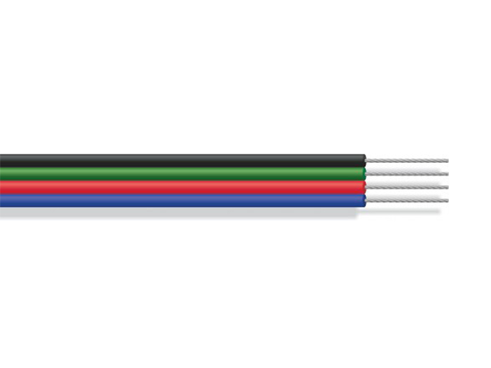 Ribbon Cable - 2.20 mm Pitch - 4 Conductors - 0.5 mm - 1 m - Red, Green, Blue, Black