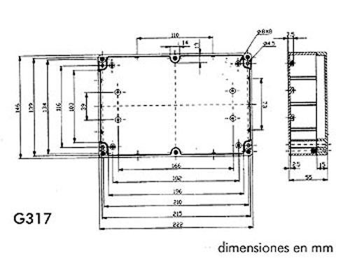 Caja Estanca ABS 222 x 146 x 55 mm - G317