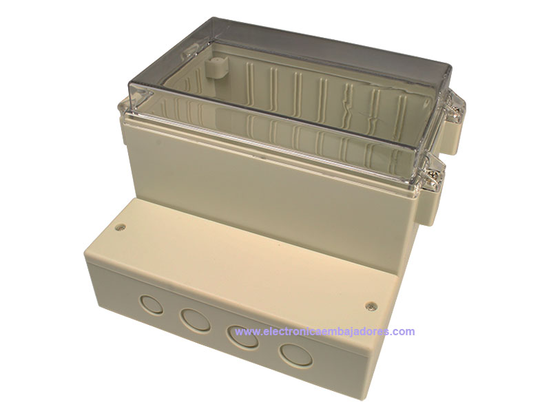 Sealed ABS and polycarbonate enclosure 165 x 158 x 121 mm