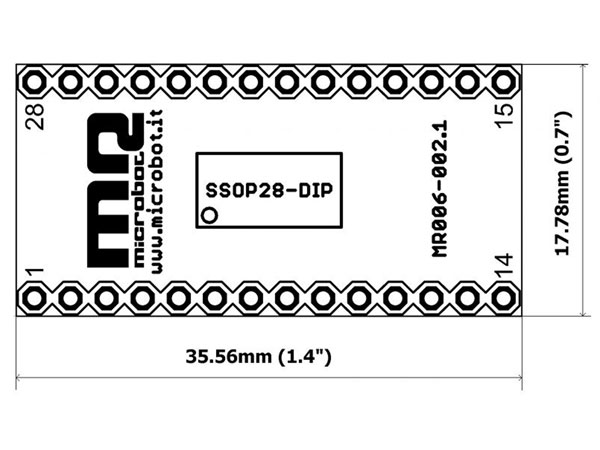 SSOP28 and SOIC28 to DIP28 Adapter - MR006-002.2