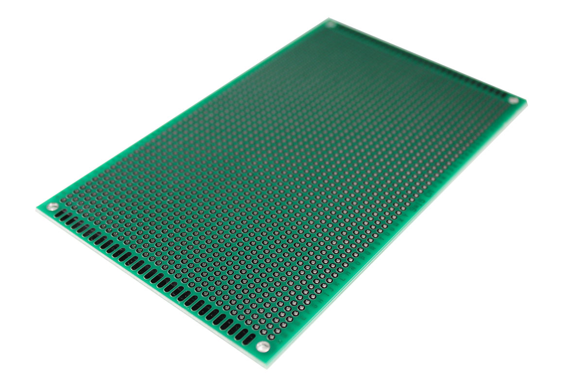 Fiberglass Stripboard with Interrupted Track Lines 90 x 150 mm - Two-Sided & Metallic Holes