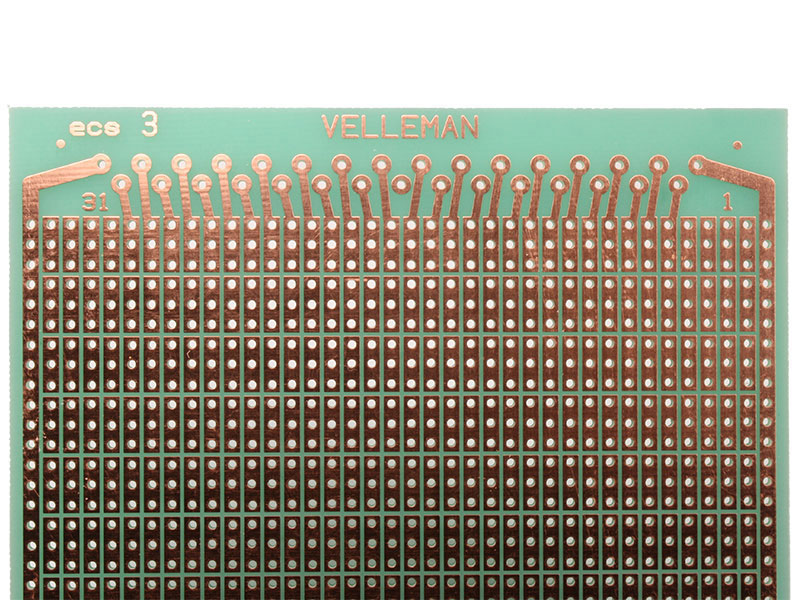 Fiberglass Stripboard with 3 Holes Interrupted Track Lines 100 x 160 mm - B/3CS3