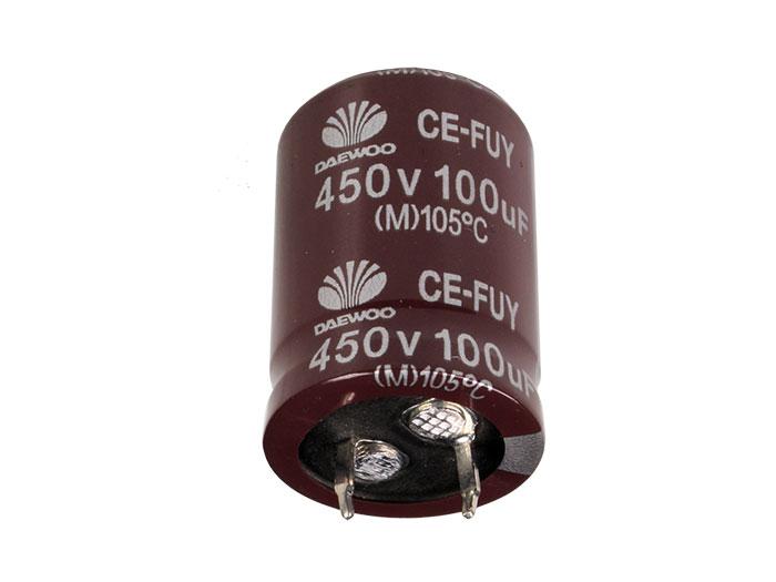 Daewoo FUY - Condensador Electrolítico Radial 100 µF - 450 V - 105°C