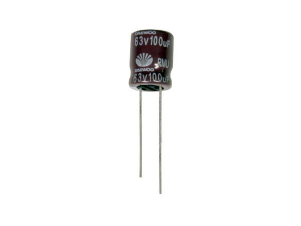 Daewoo RMV - Condensador Electrolítico Radial 100 µF - 63 V - 105°C