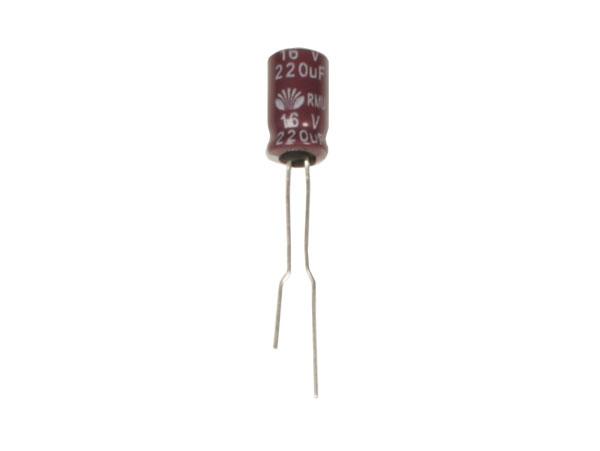 Condensador Electrolítico Radial 220 µF - 16 V - 105°C - CE016122RMUTS