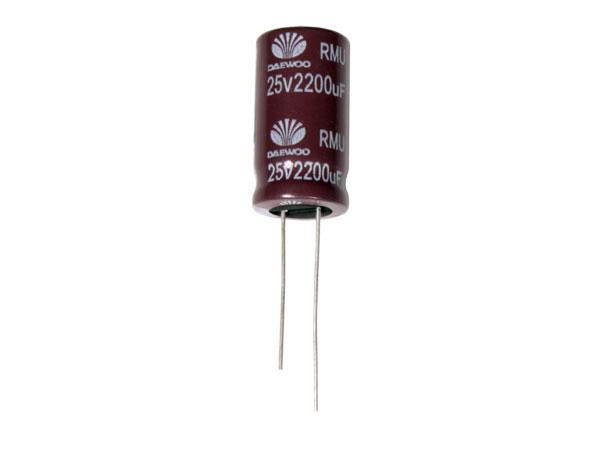 Condensador Electrolítico Radial 2200 µF - 25 V - 105°C - 83836