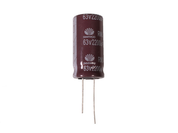 Condensador Electrolítico Radial 2200 µF - 63 V - 105°C - 74098