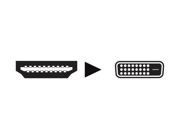 Conector Adaptador DVI Macho - HDMI Hembra