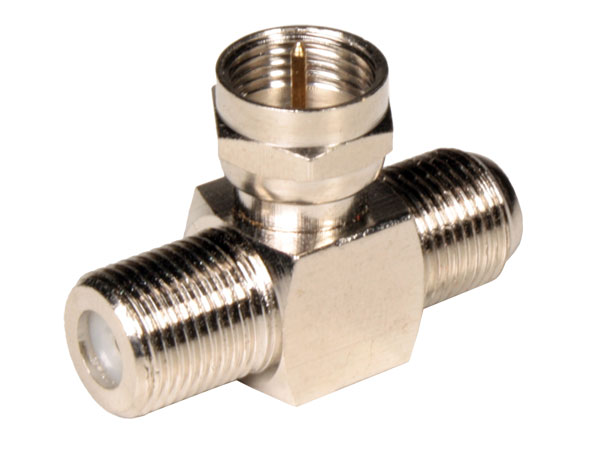F Male to 2 x F Female Connector Adapter