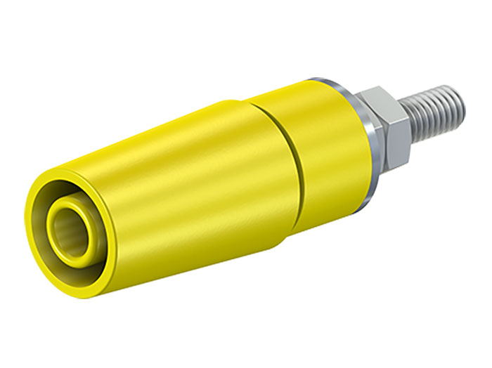 Multi-Contact SAB4-G/N-X - 4 mm Female Banana Jack Panel Mount Socket with blot - Yellow - 49.7042-24