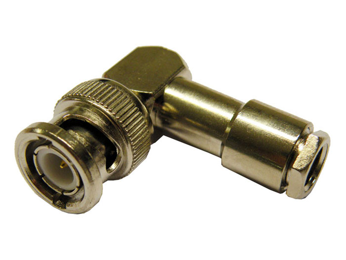 Right Angle Cable-Mount BNC Male Connector for RG58 with Solder Contact