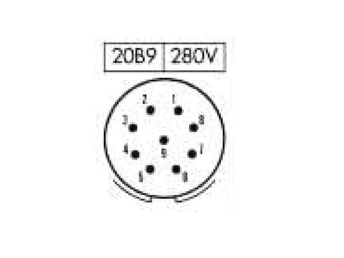 PHER20B9 (C920129AES) - 9 contacts male size 20 in-line mount circular connector