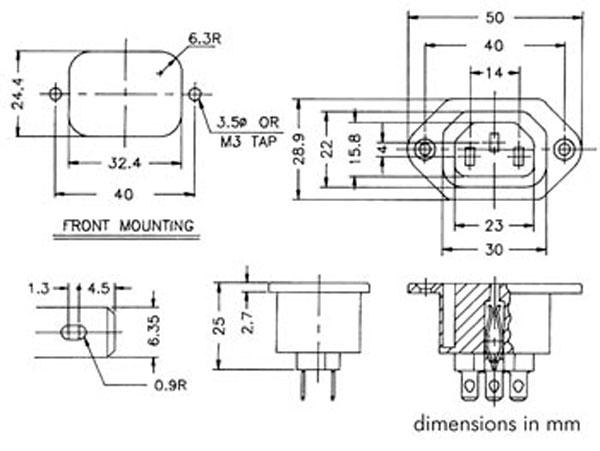 Conetor IEC 60320 C13 Fêmea Chassis - 31208