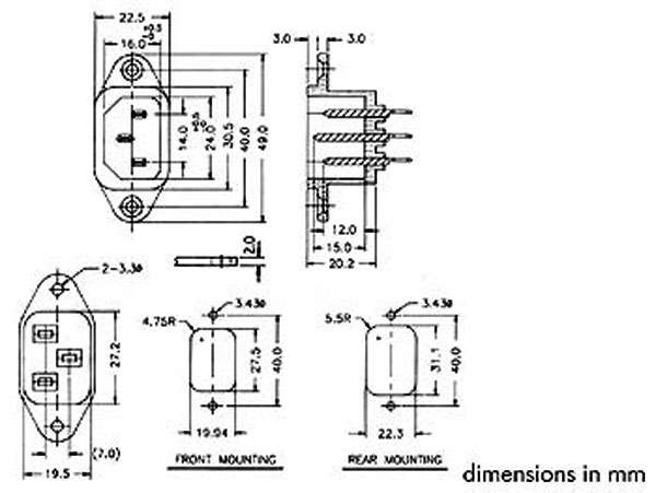 Conetor IEC 60320 C14 Chassis Macho