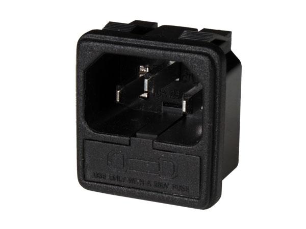 Conetor IEC 60320 C14 Chassis Macho com Porta fusível