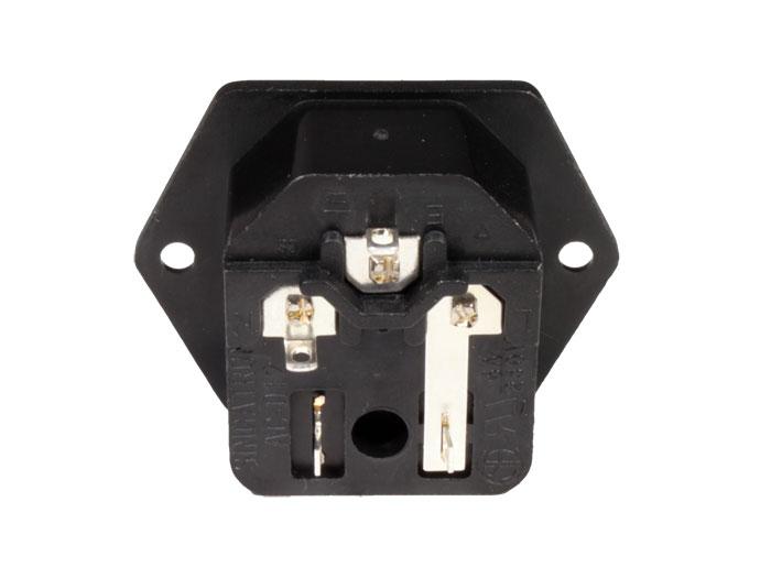 Conetor IEC 60320 C14 Chassis Macho com Porta fusível - 31.207