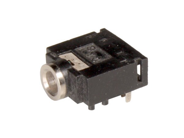 3.5 mm 3 pole printed circuit board mount female jack connector closed