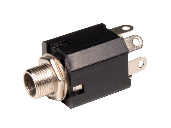 6.3 mm 3 pole panel-mount female jack connector closed