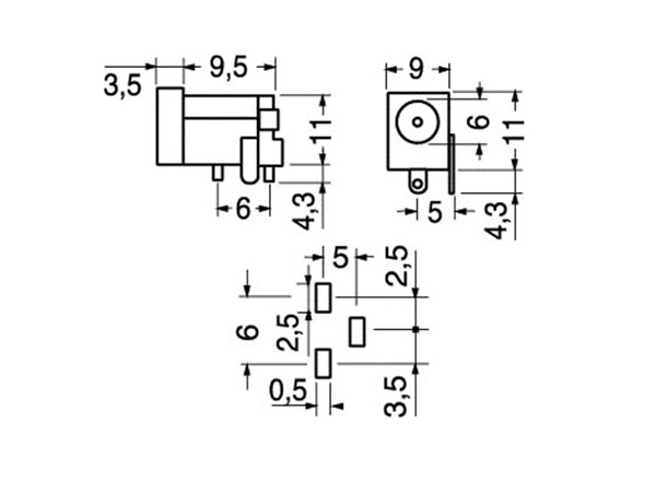 5.6 mm - 3.1 mm Jack Socket - Female Power Socket - Printed Circuit Board Mount
