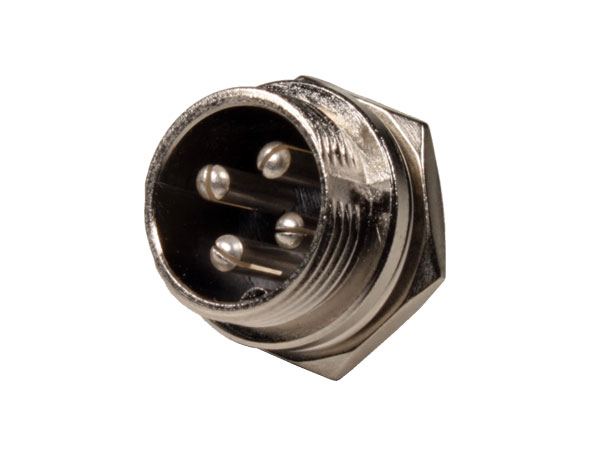 4 Pole Panel-Mount Male Microphone Connector - 10.230/4/M