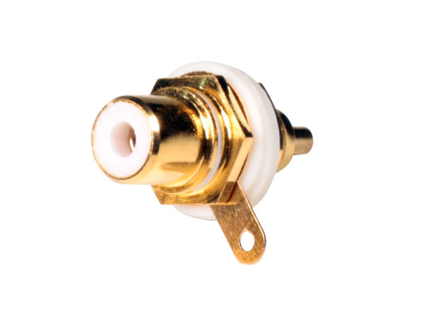 Panel-Mount Female RCA Connector - Gold White - 10.581/N