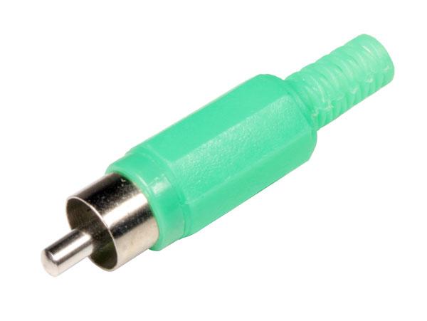 Conector RCA Aéreo Macho Recto de Plástico - Verde - CA047G