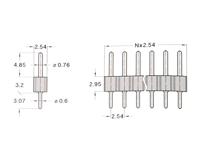 2.54 mm Pitch - Straight Male Header Strip - 36 Pins - 02-800.10.036.10.001