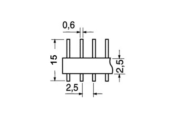 2.54 mm Pitch - Straight Male Header Strip - 16 Pins
