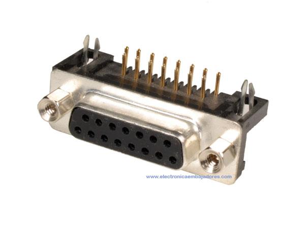 D-sub Female Connector - 15 Poles PCB - 08.130/15