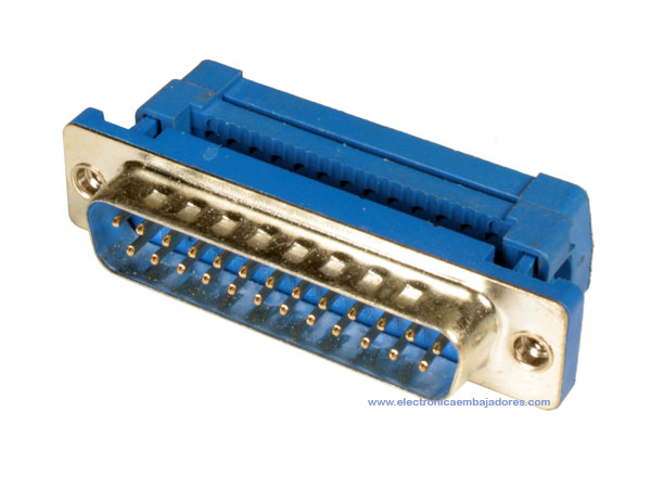 D-sub Male Crimp Connector - 25 Poles - Flat Cable - 08.400/25