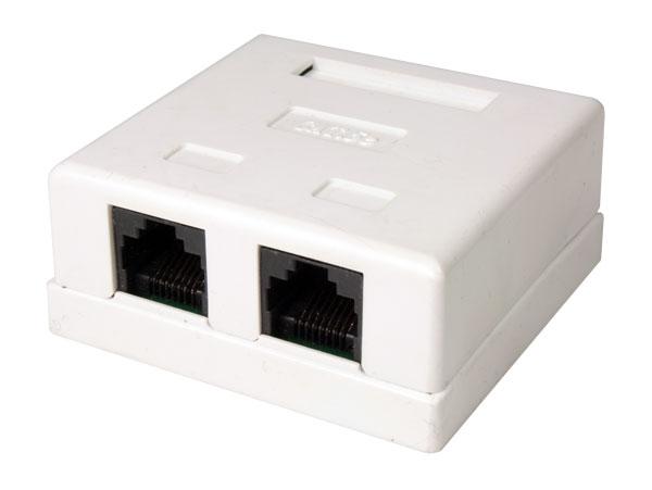 BASE DE SUPERFICIE PARA 2 CONECTORES MODULARES 8P8C (RJ45)