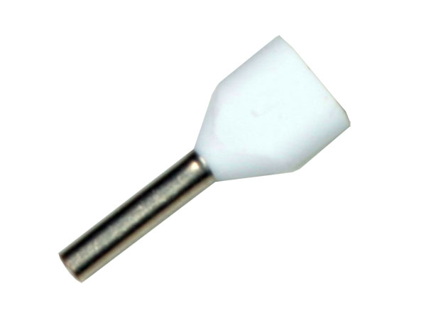 TT-205 - Insulated Double Cord End Terminal White 0.5 mm² l=8 mm - 100 Units
