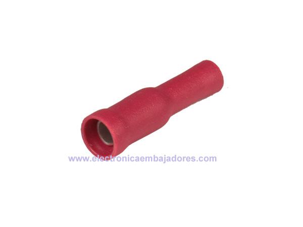 CVDGF1.25-5 - Cosse Cylindrique Isolé Femelle 1,50 mm² L=4 mm - 25 Unités - Rouge - 15114