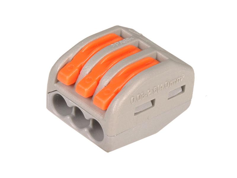 Conector Empalme 3 Contactos - 0,08 .. 4 mm²