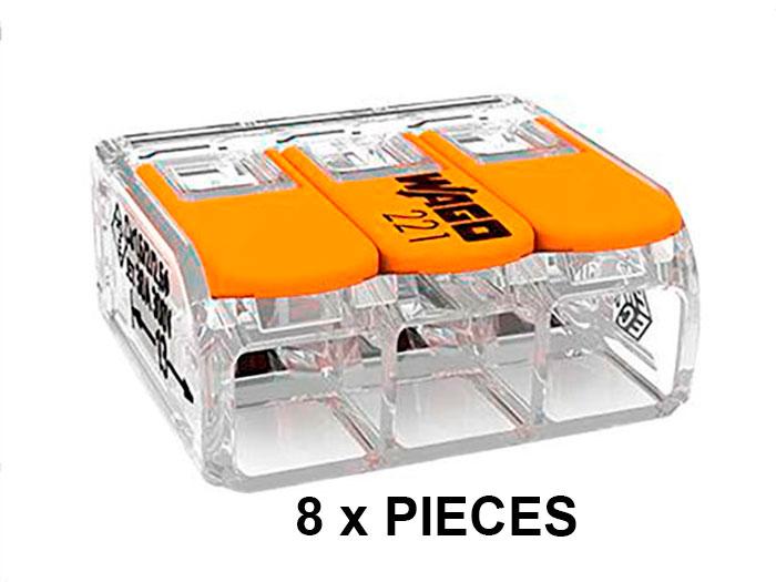 Wago 221-613 - Set 8 ligadores - Caixa Emenda - 3 Ligações ate 6.0 mm² - BLISTER 221-613