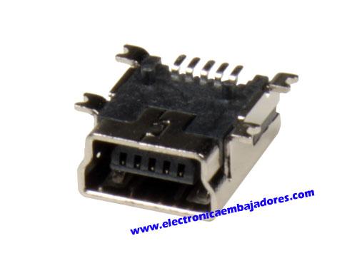 CONECTOR MINI USB-A 5 PINES HEMBRA CIRCUITO IMPRESO
