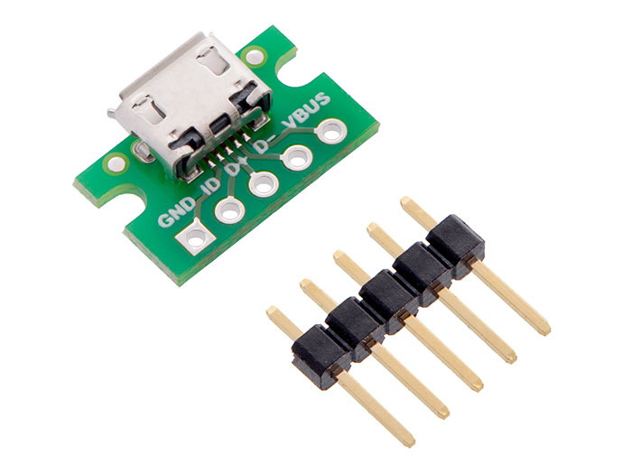Female micro-USB-A 5 Pin Breadboard Mount Connector