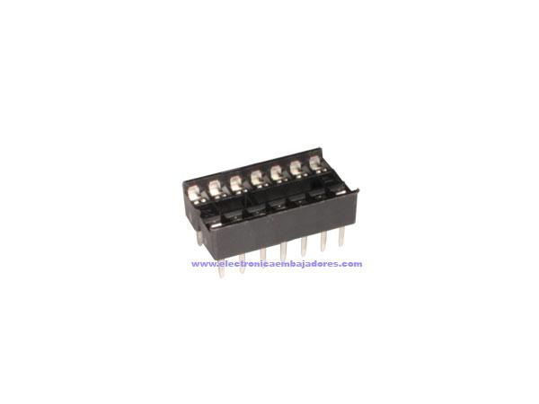 DIL Socket Integrated Circuit - 14 Pins - Narrow - Flat Pin