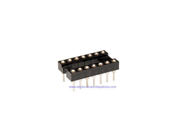 DIL Socket Integrated Circuit - 14 Pins - Narrow - Turned Pin - 18.905/14