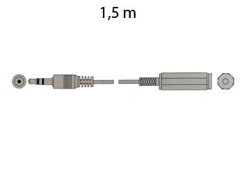 Conexión Jack 3,5 Estéreo Macho - Jack 3,5 Estéreo Hembra, 1,5 m Dorada - A-25G/1,5