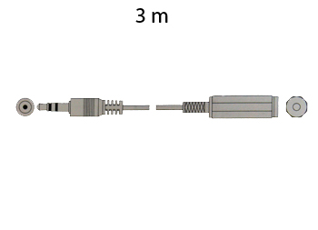 Jack 3.5 Stereo Male to Jack 3.5 Stereo Female Cable, 3 m - Golden
